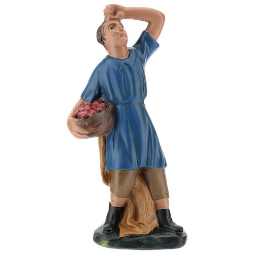 Statua pastore che guarda la stelle con cesto gesso 20 cm 1