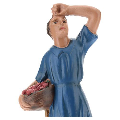 Statua pastore che guarda la stelle con cesto gesso 20 cm 2