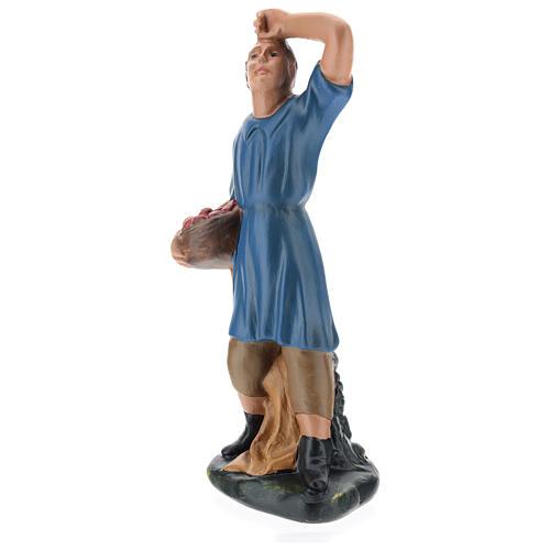 Statua pastore che guarda la stelle con cesto gesso 20 cm 3