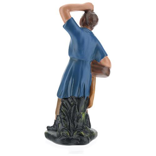 Statua pastore che guarda la stelle con cesto gesso 20 cm 5