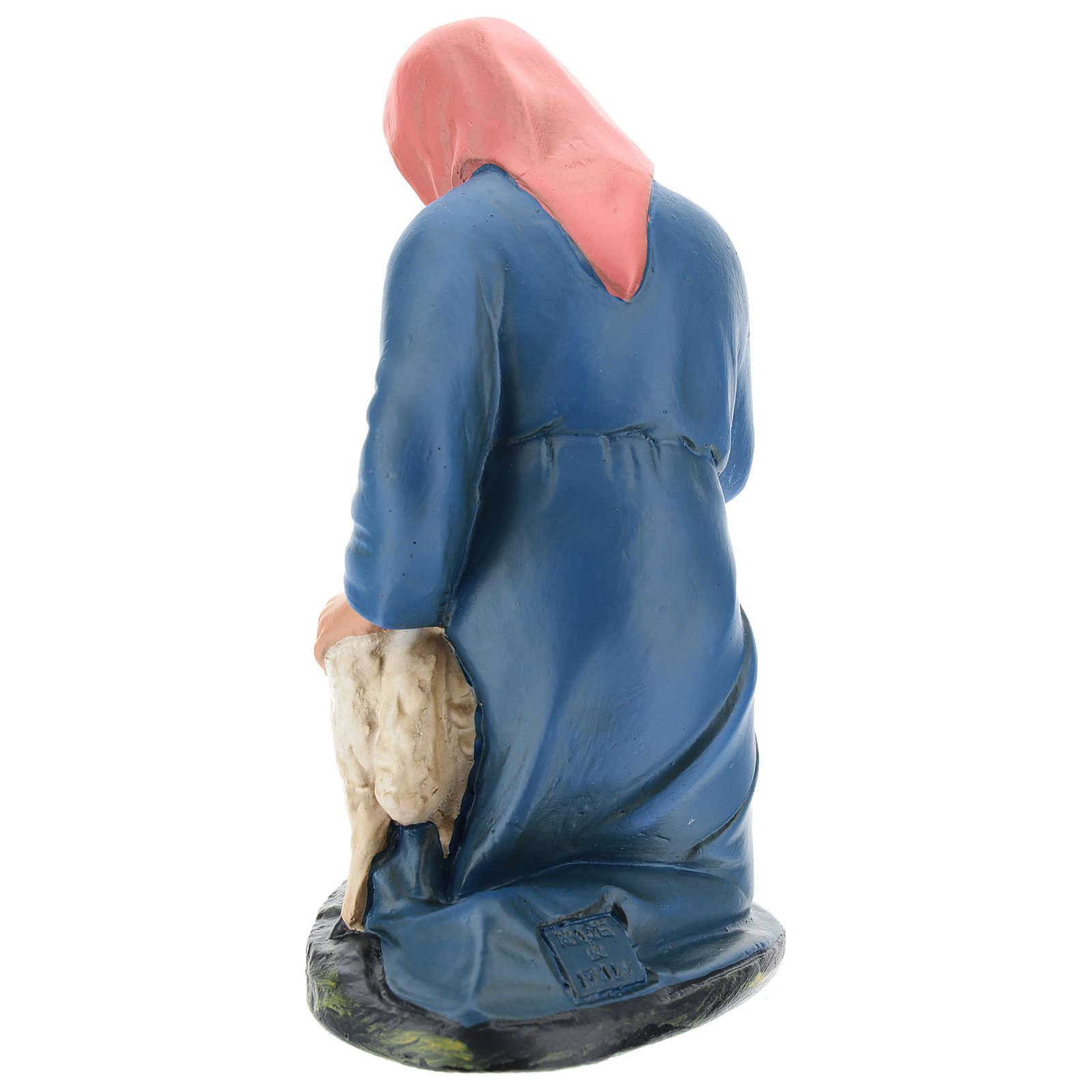 Estatua pastora de rodillas con oveja 20 cm Arte Barsanti 4
