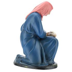 Estatua pastora de rodillas con oveja 20 cm Arte Barsanti s4