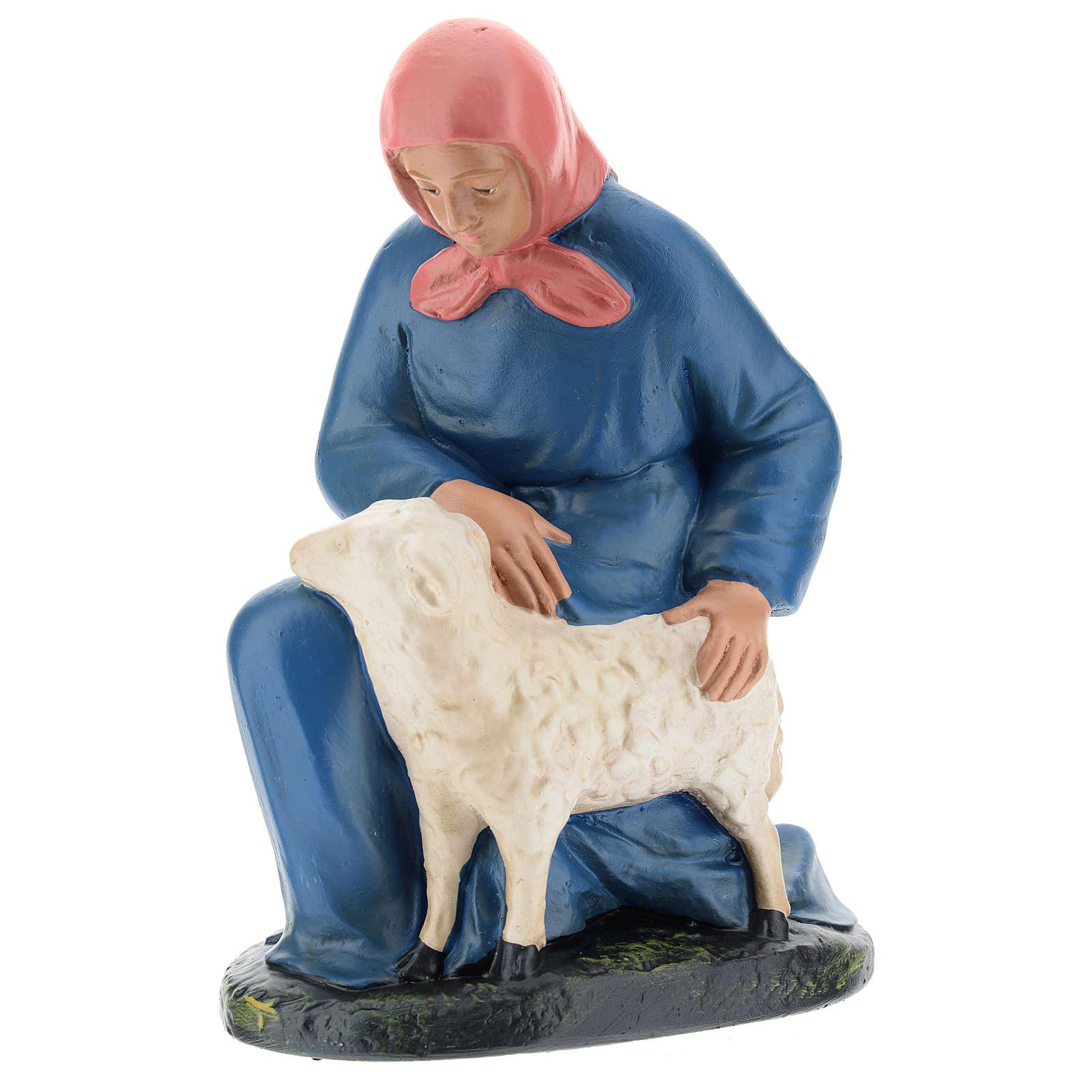 Statua pastorella inginocchiata con pecora 20 cm Arte Barsanti 4
