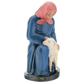 Statua pastorella inginocchiata con pecora 20 cm Arte Barsanti s1