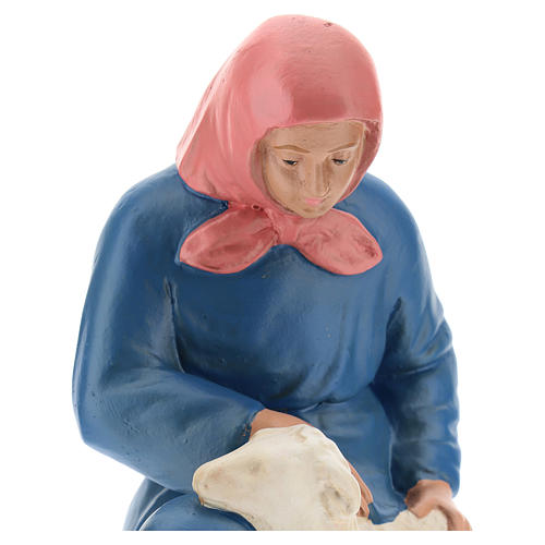 Statua pastorella inginocchiata con pecora 20 cm Arte Barsanti 2