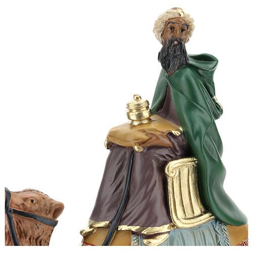 Roi Mage mulâtre sur chameau crèche Arte Barsanti plâtre 20 cm 2