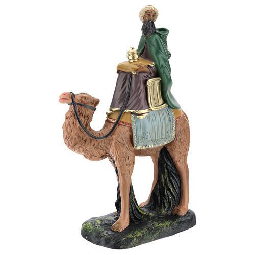 Roi Mage mulâtre sur chameau crèche Arte Barsanti plâtre 20 cm 3