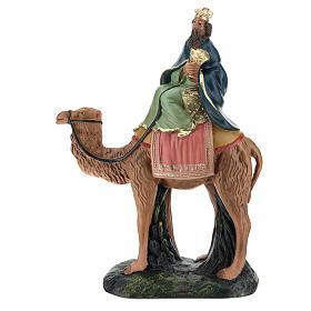 Roi Mage blanc sur chameau crèche Arte Barsanti plâtre 20 cm s1