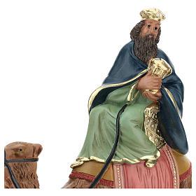 Roi Mage blanc sur chameau crèche Arte Barsanti plâtre 20 cm s2