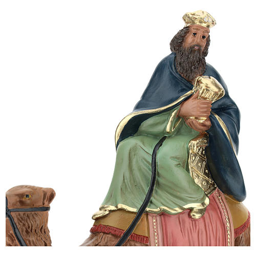 Roi Mage blanc sur chameau crèche Arte Barsanti plâtre 20 cm 2
