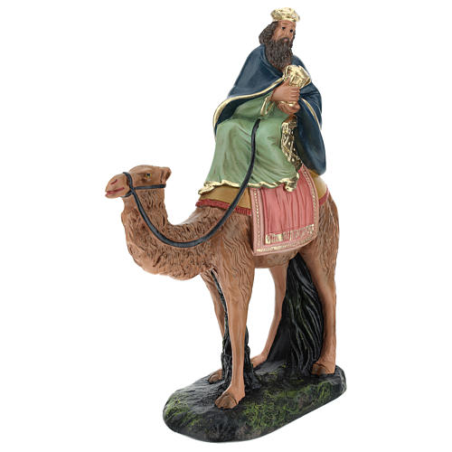 Roi Mage blanc sur chameau crèche Arte Barsanti plâtre 20 cm 3