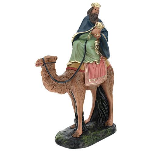 Re Magio su cammello Melchiorre gesso Arte Barsanti 20 cm 3