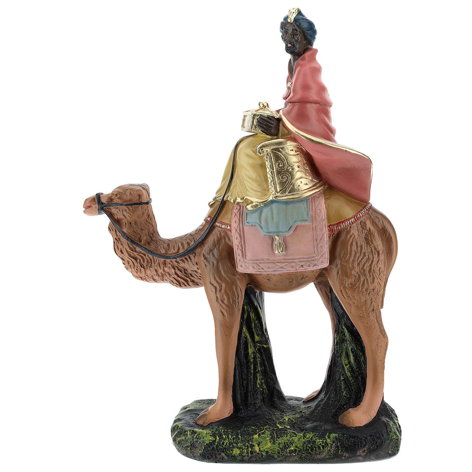 Rey Mago negro con camello para belén 20 cm Arte Barsanti 4