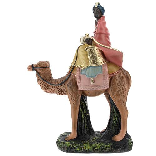Roi Mage noir sur chameau crèche Arte Barsanti plâtre 20 cm 1