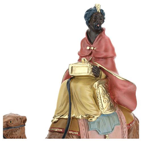 Roi Mage noir sur chameau crèche Arte Barsanti plâtre 20 cm 2