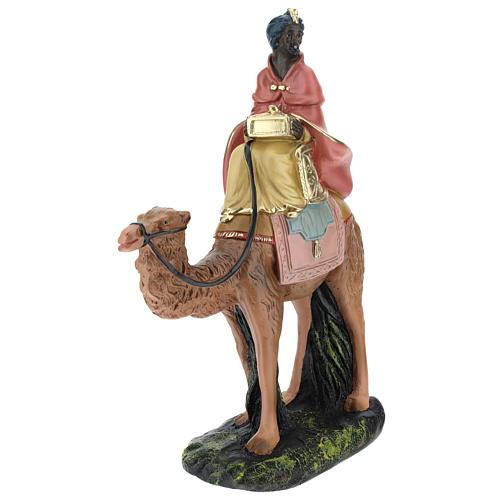 Roi Mage noir sur chameau crèche Arte Barsanti plâtre 20 cm 3