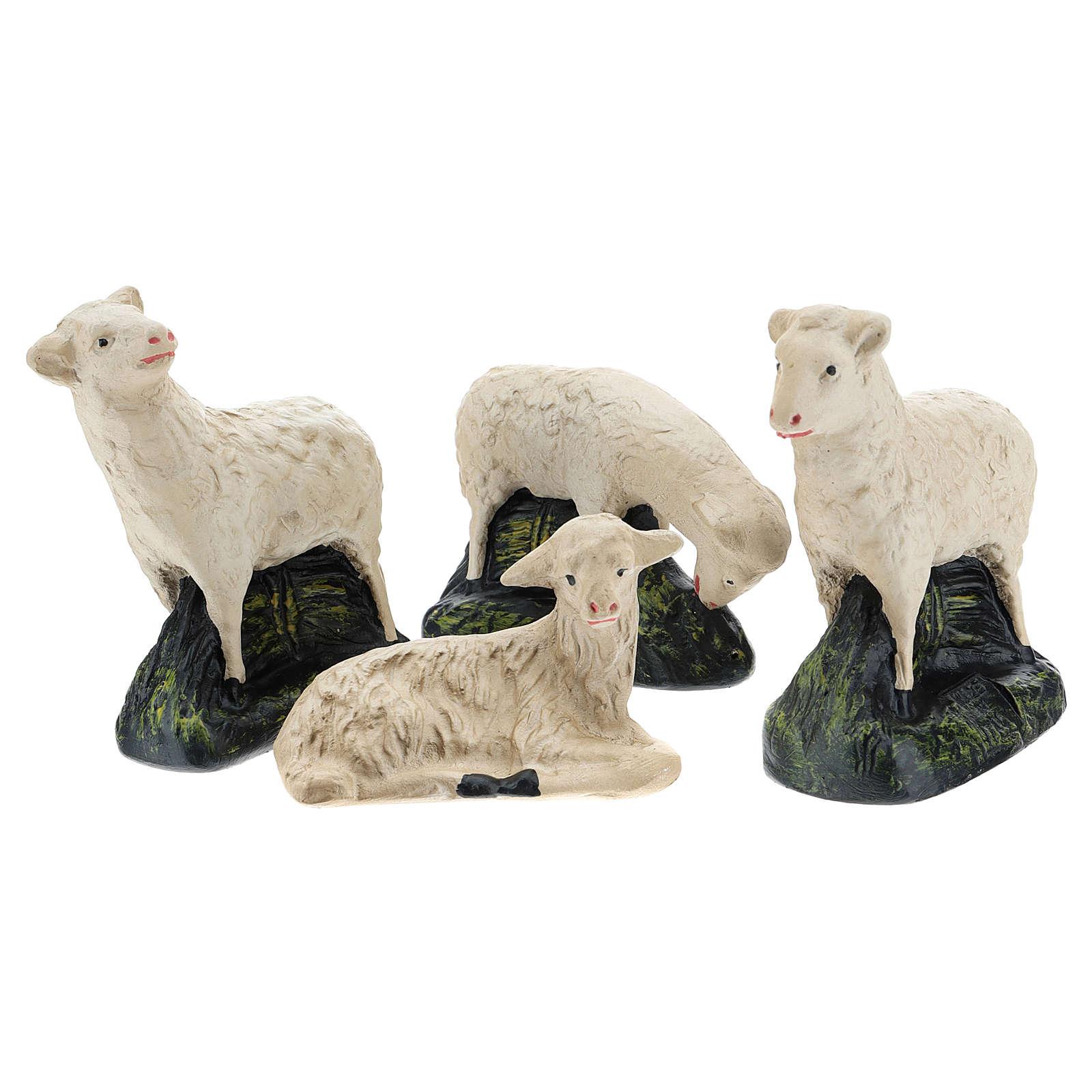 Set Arte Barsanti 4 ovejas yeso para belén 20 cm 4