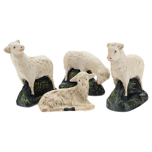 Set Arte Barsanti 4 pecorelle gesso per presepe 20 cm 2