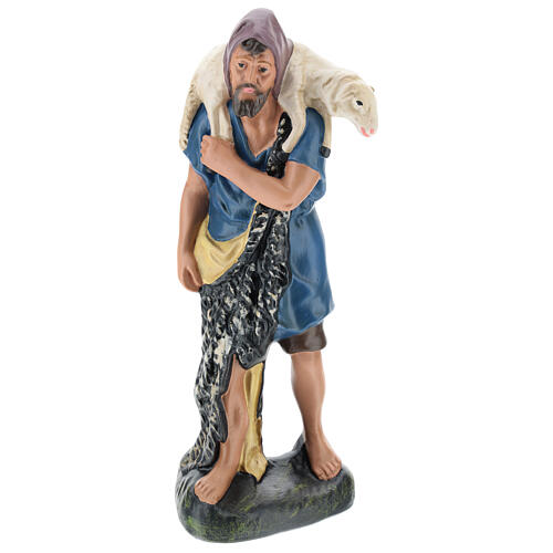 Shepherd with sheep on his shoulders in plaster for Arte Barsanti Nativity Scene 30 cm 1