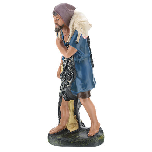 Shepherd with sheep on his shoulders in plaster for Arte Barsanti Nativity Scene 30 cm 3