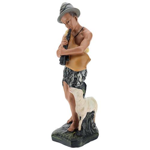 Bagpiper with sheep in plaster for Arte Barsanti Nativity Scene 30 cm 3