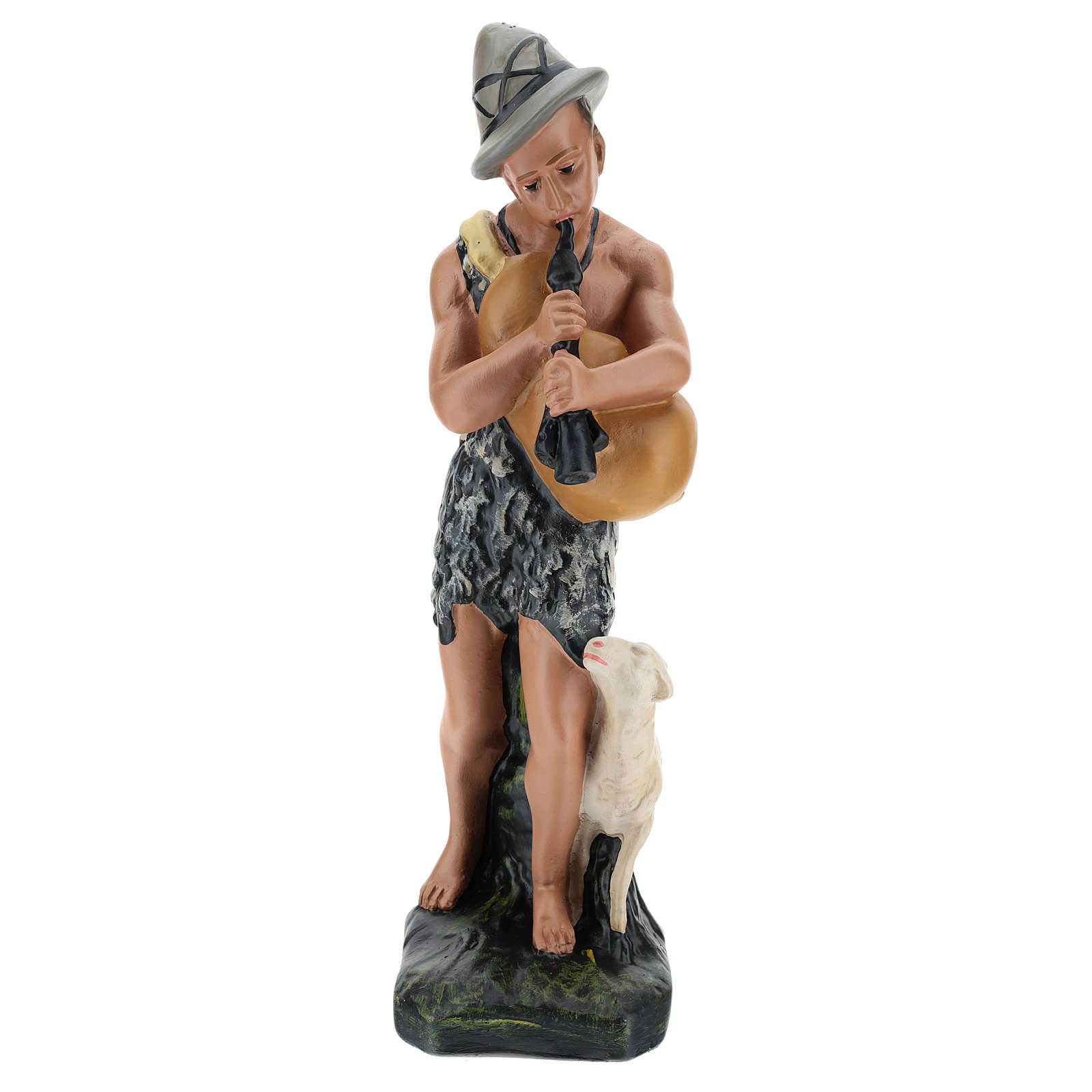 Zampognaro con pecorella in gesso dipinto a mano 30 cm Arte Barsanti 4