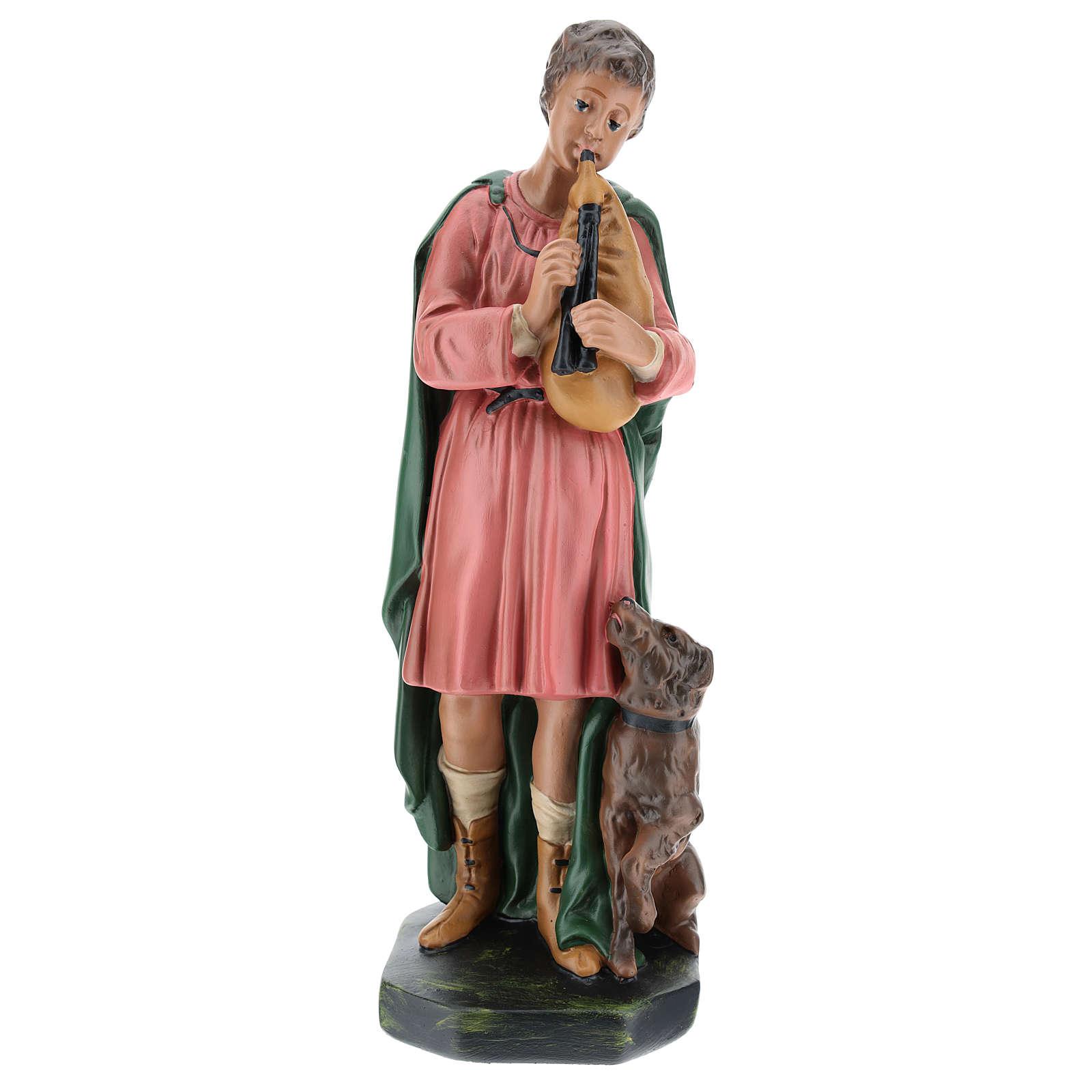 Joueur de cornemuse avec chien plâtre 30 cm Arte Barsanti 4