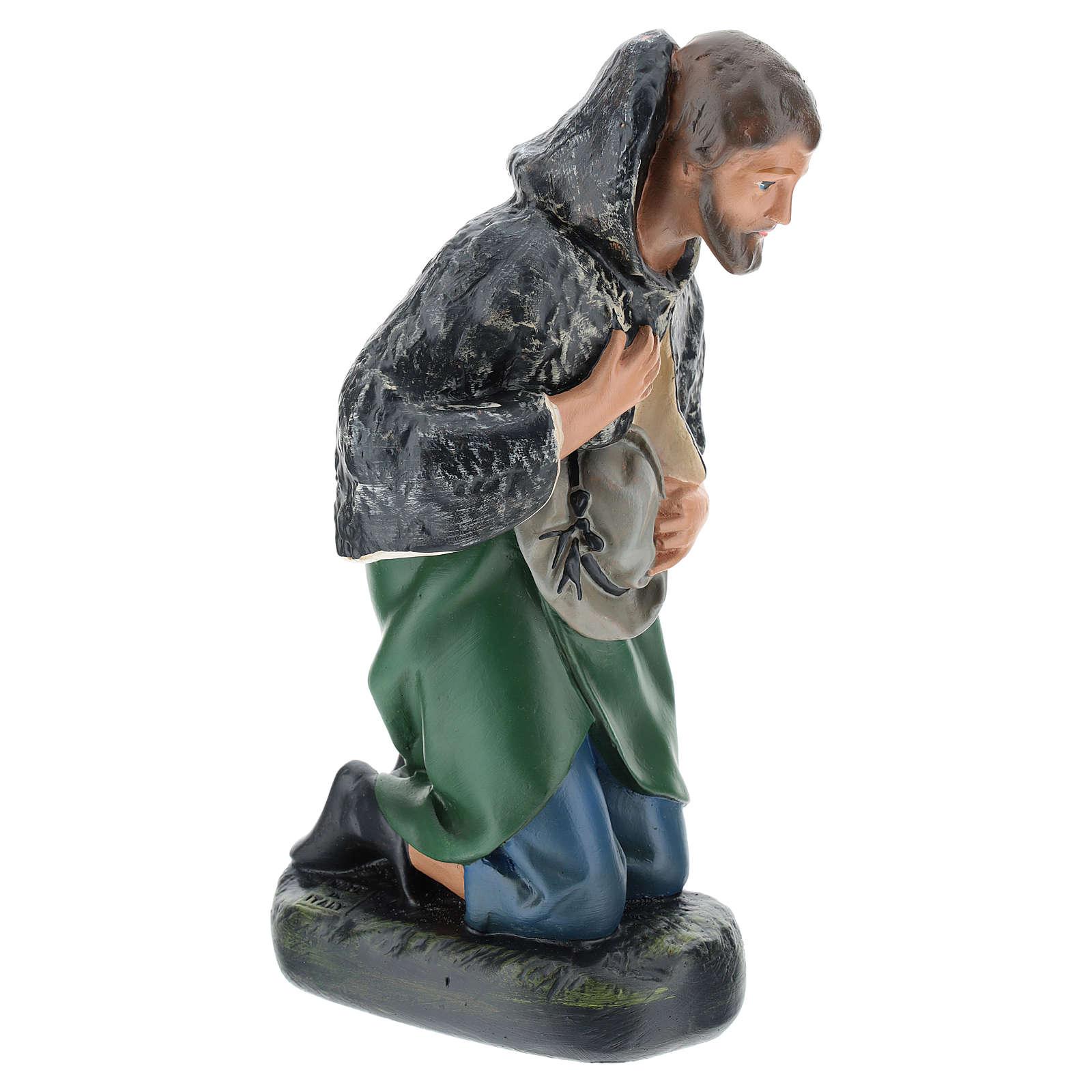 Estatua pastor con sombrero de rodillas belén Arte Barsanti 30 cm 4