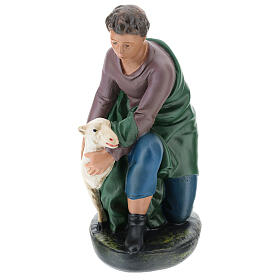 Kneeling shepherd with sheep in plaster for Arte Barsanti Nativity Scene 30 cm s1