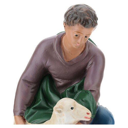 Kneeling shepherd with sheep in plaster for Arte Barsanti Nativity Scene 30 cm 2