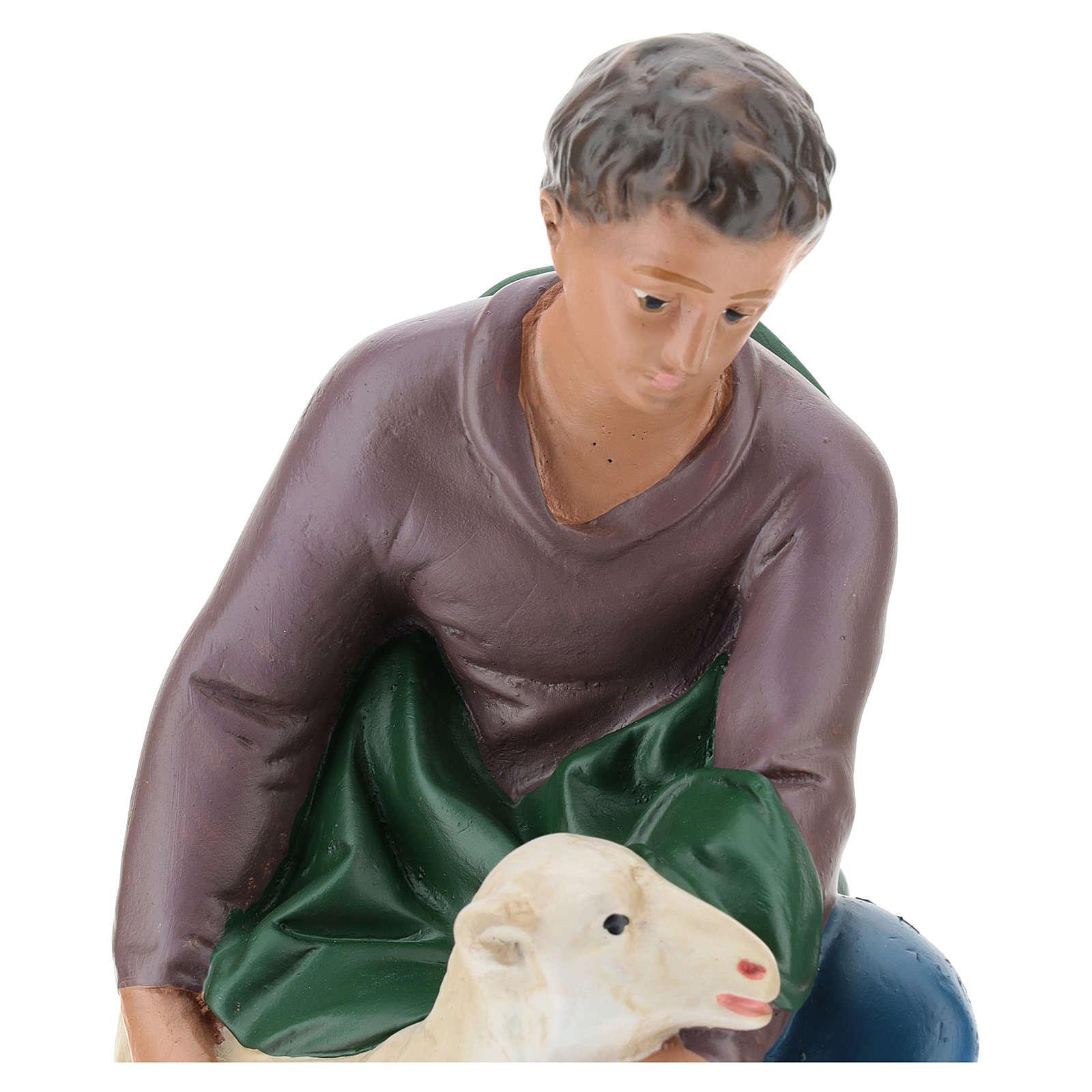 Berger agenouillé avec mouton plâtre 30 cm Arte Barsanti 4