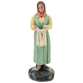 Estatua lavandera con velo yeso coloreado 30 cm Arte Basranti s1