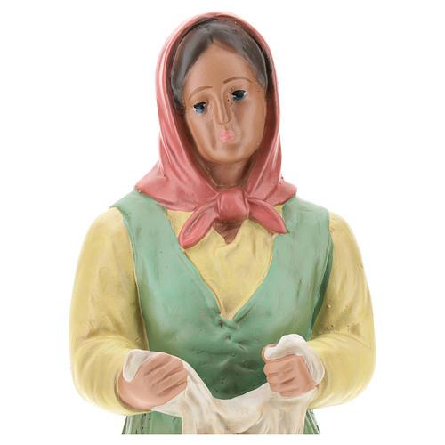 Estatua lavandera con velo yeso coloreado 30 cm Arte Basranti 2