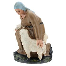 Statua pastorella con pecore gesso per presepe 30 cm Arte Barsanti s1