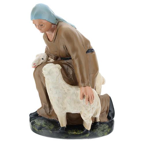 Statua pastorella con pecore gesso per presepe 30 cm Arte Barsanti 1
