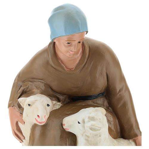 Statua pastorella con pecore gesso per presepe 30 cm Arte Barsanti 2