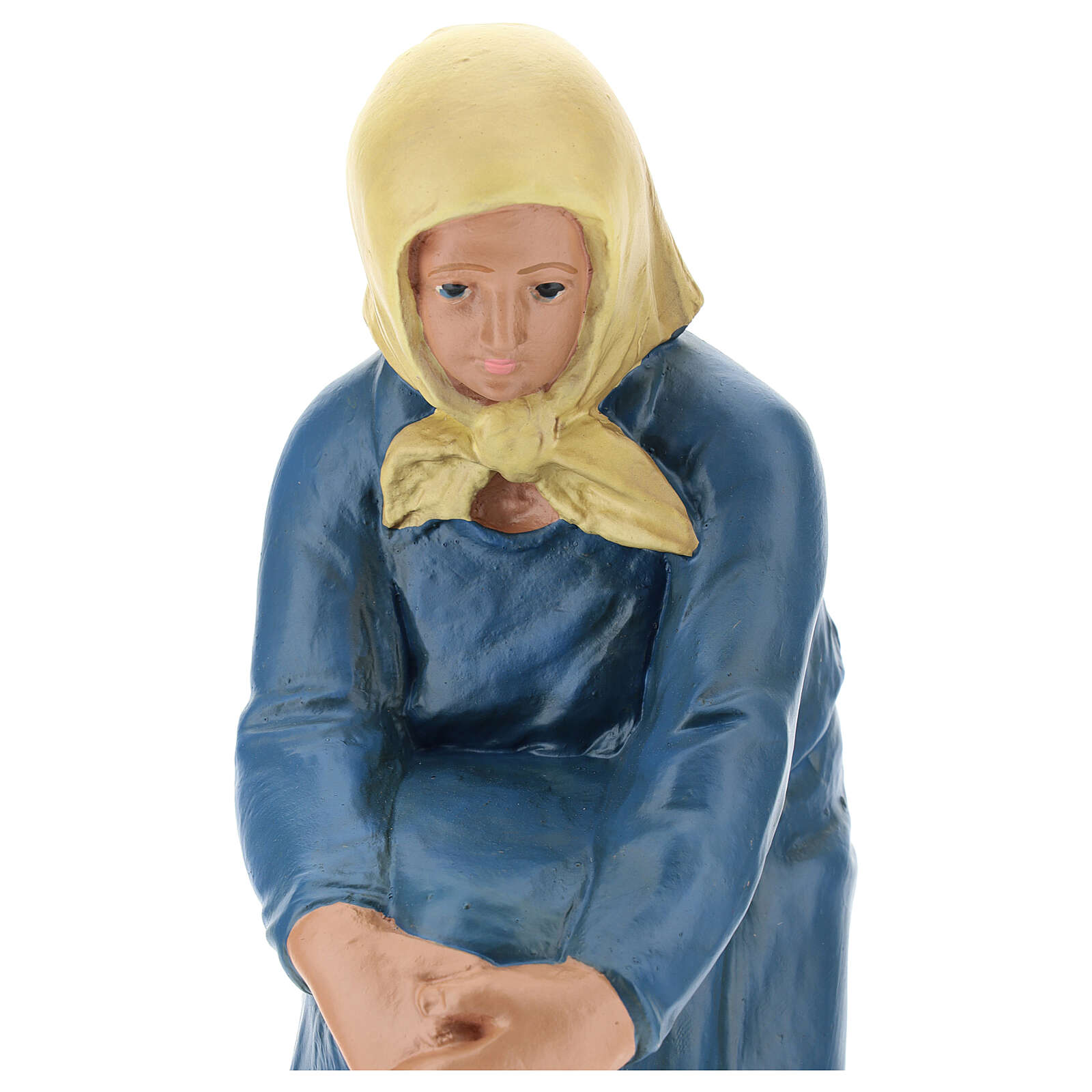 Kneeling farmer with veil in plaster for Arte Barsanti Nativity Scene 30 cm 4