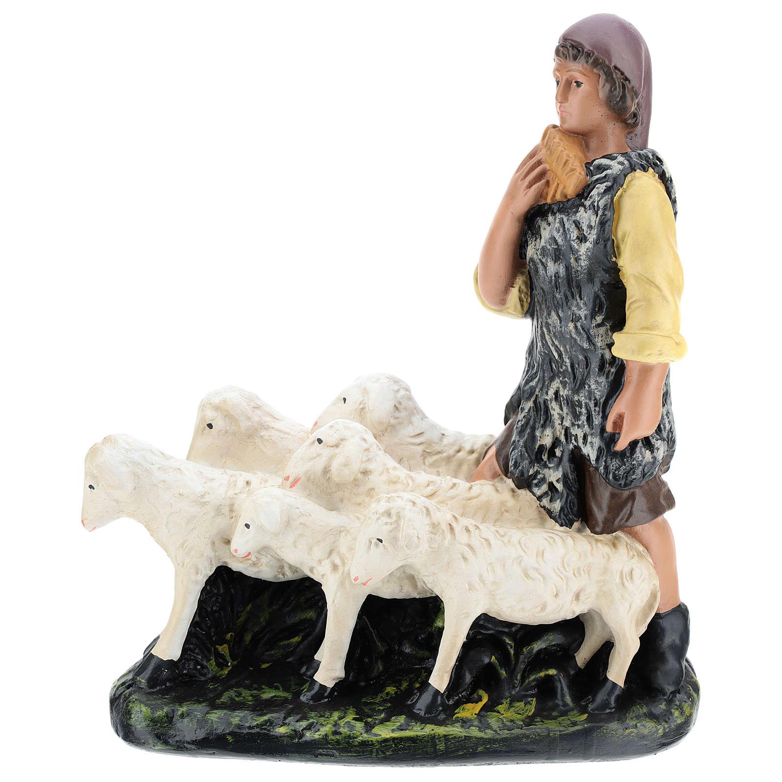 Pastor con rebaño de yeso belén 30 cm Arte Barsanti 4