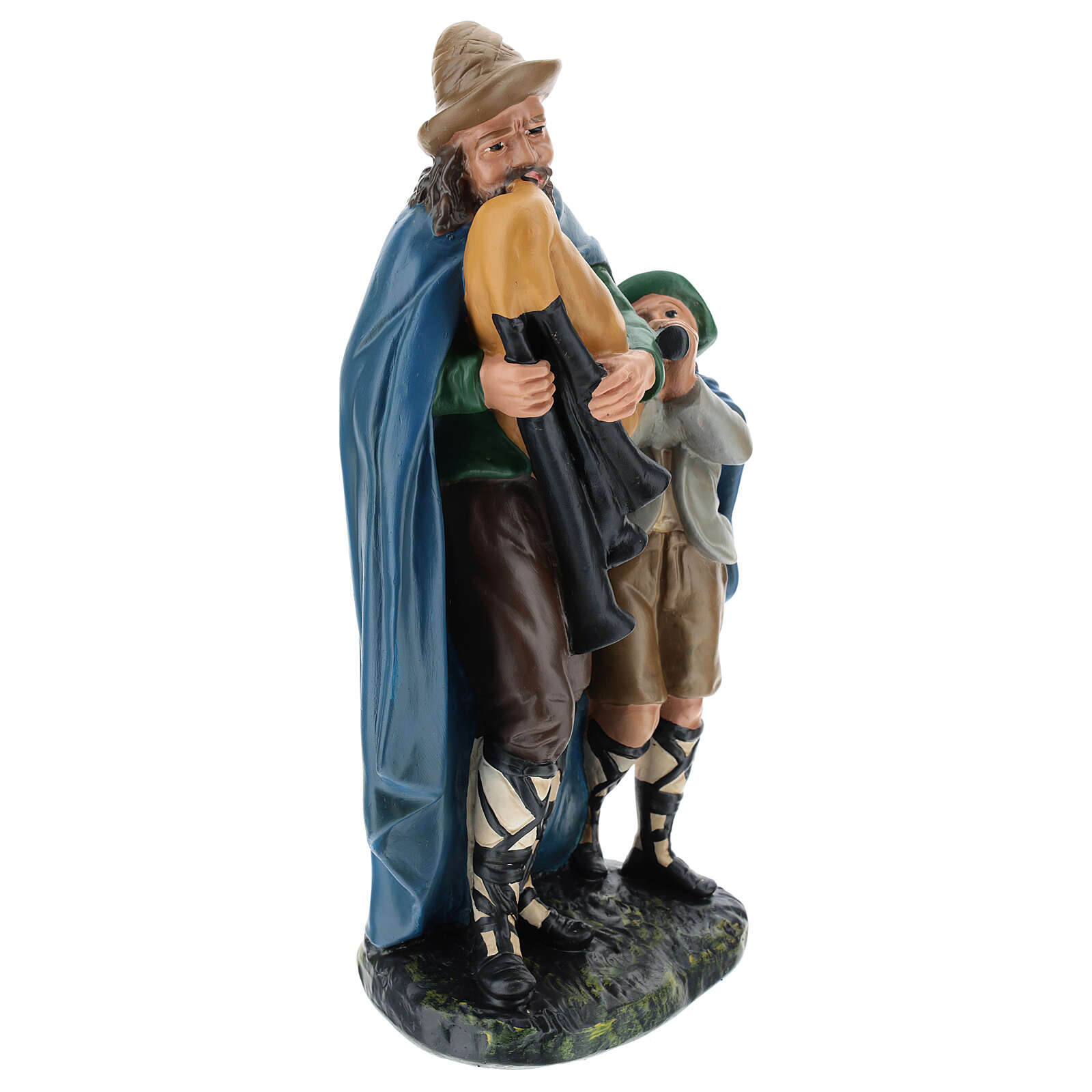 Bagpiper with child in plaster for Arte Barsanti Nativity Scene 30 cm 4