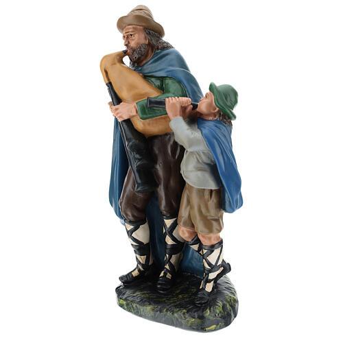 Bagpiper with child in plaster for Arte Barsanti Nativity Scene 30 cm 3