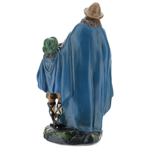 Bagpiper with child in plaster for Arte Barsanti Nativity Scene 30 cm 5