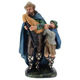 Joueur de cornemuse avec enfant plâtre 30 cm Arte Barsanti s1