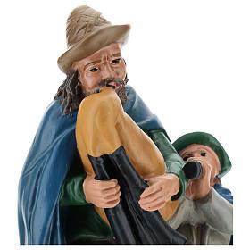 Joueur de cornemuse avec enfant plâtre 30 cm Arte Barsanti s2