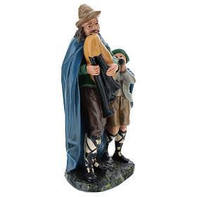 Joueur de cornemuse avec enfant plâtre 30 cm Arte Barsanti s4