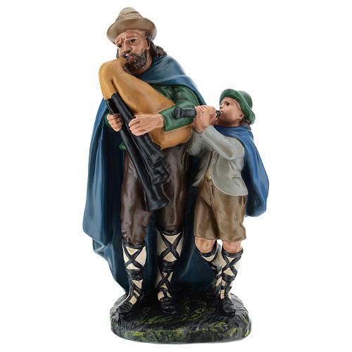 Joueur de cornemuse avec enfant plâtre 30 cm Arte Barsanti 1