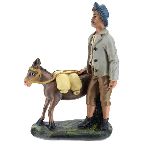 Shepherd with donkey in plaster for Arte Barsanti Nativity Scene 30 cm 1