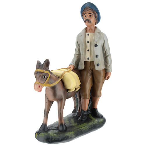 Shepherd with donkey in plaster for Arte Barsanti Nativity Scene 30 cm 3