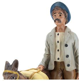 Pastor con burro de yeso para belenes Arte Barsanti 30 cm s2