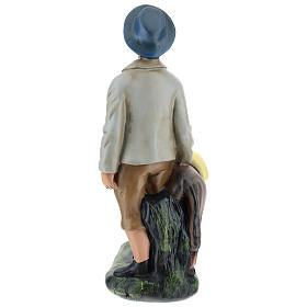 Pastor con burro de yeso para belenes Arte Barsanti 30 cm s5