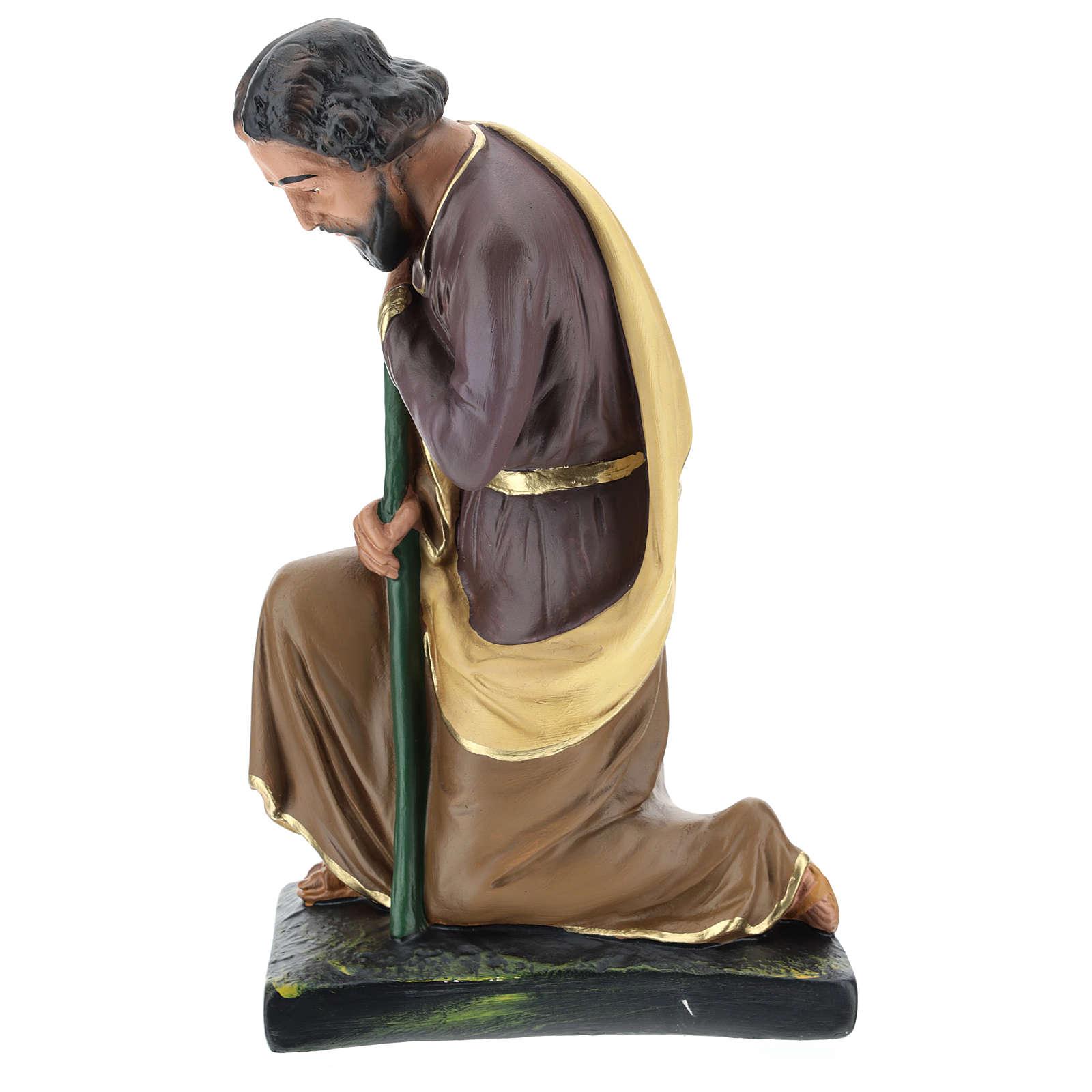 Saint Joseph plâtre coloré pour crèche 40 cm Arte Barsanti 4